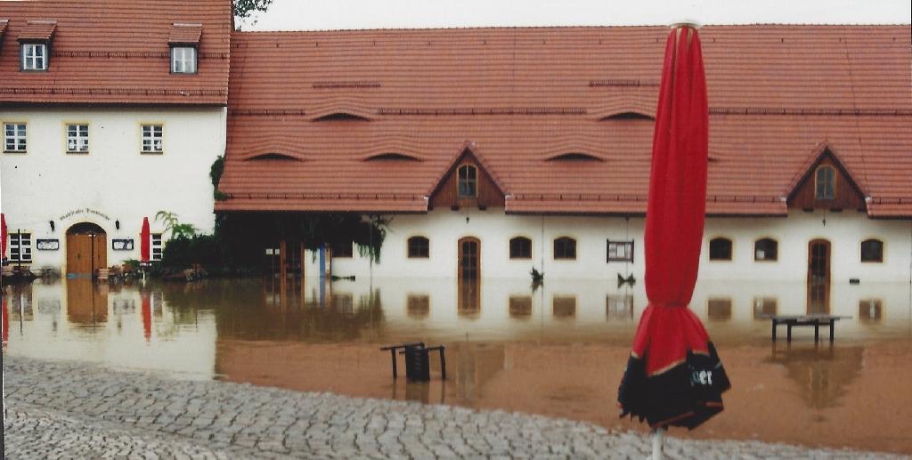 Hochwasser Hofansicht Klaffenbach
