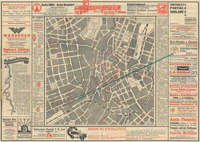 Stadtplan von 1931 mit Hinweis auf die Stern-Garagen