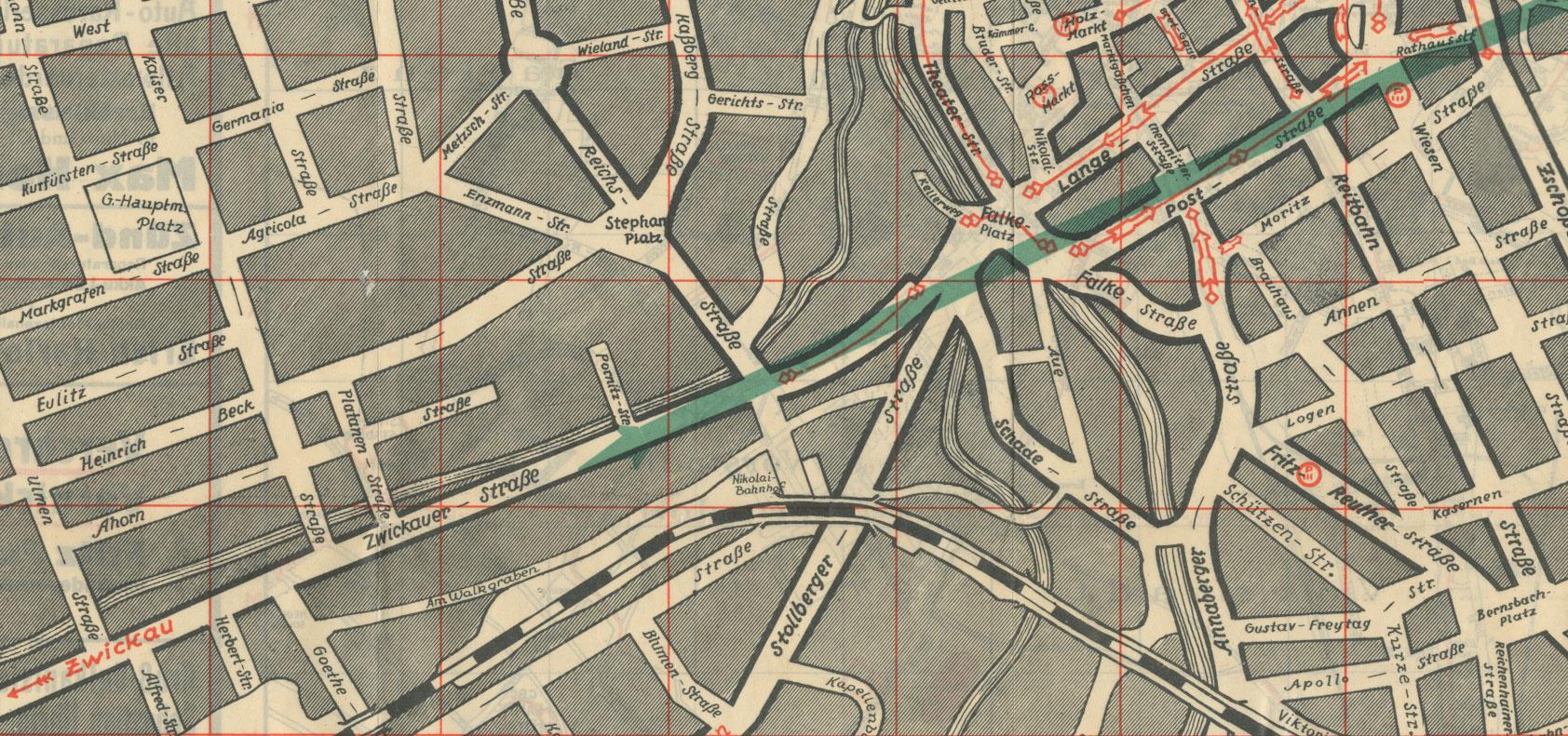 Historische Karte der Stadt Chemnitz mit dem Standort der Hochgarage auf der Zwickauer Straße
