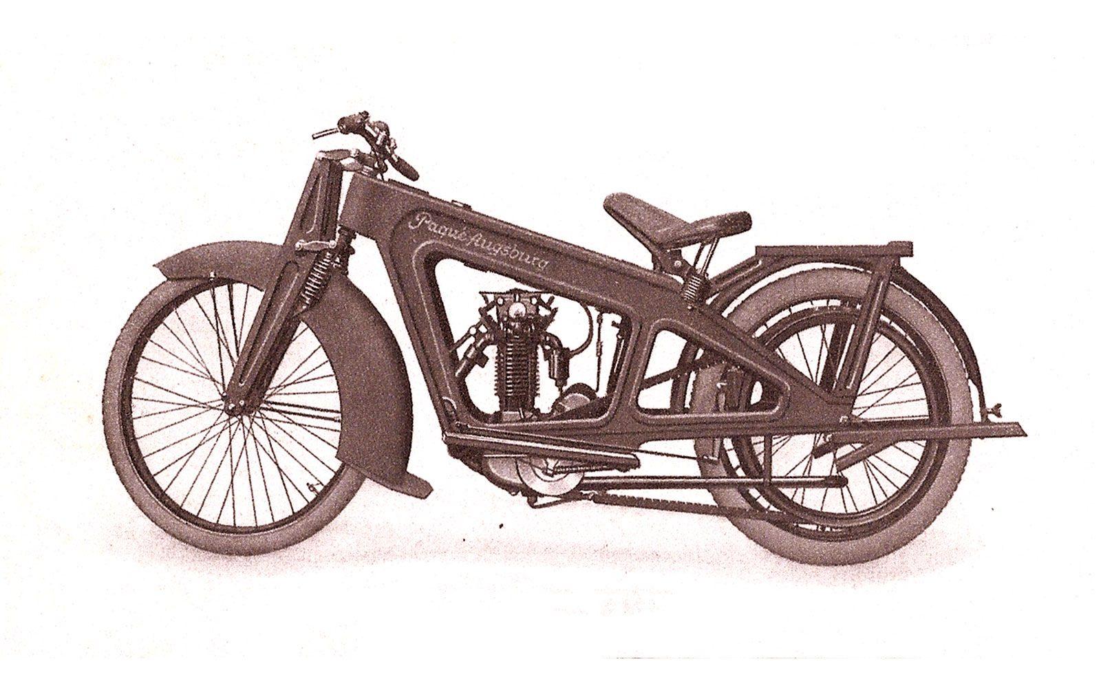 Historisches Werbebild eines Motorrades aus Augsburg