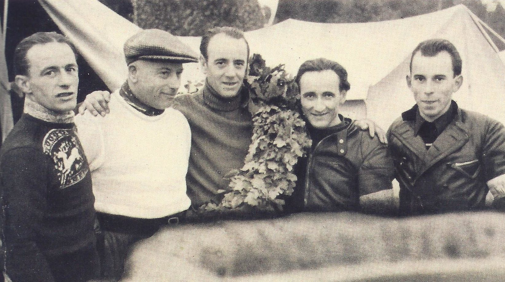 Die 125er IFA-Mannschaft Anfang der Fünfziger (von links: Krumkholz, Scherzer, Ellmann, Petruschke, Linke)