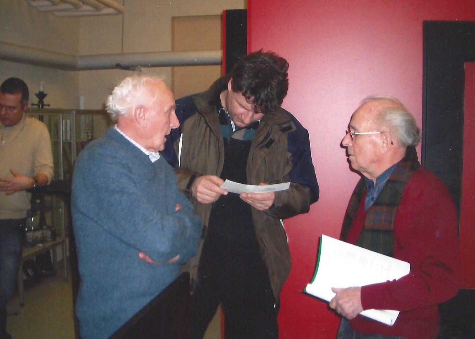 Harald Linke im Museum mit Tino Räppel und Lothar Hößler (ehem. Rennmonteur bei Rudi Krause)