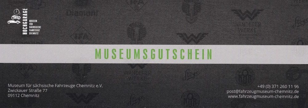 Gutschein für das Museum für sächsische Fahrzeuge Chemnitz
