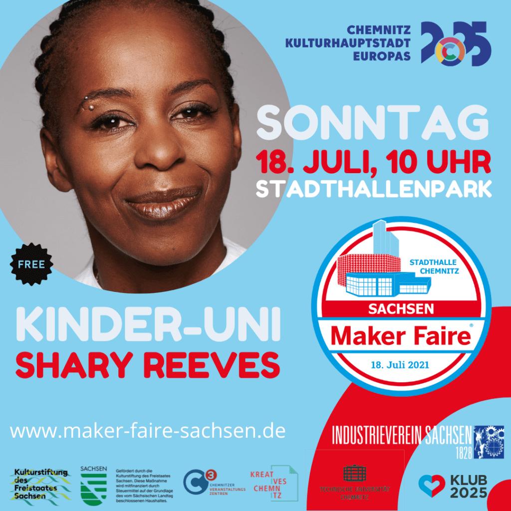 Plakat für die Maker Faire 2021 mit einem Foto von Shary Reeves
