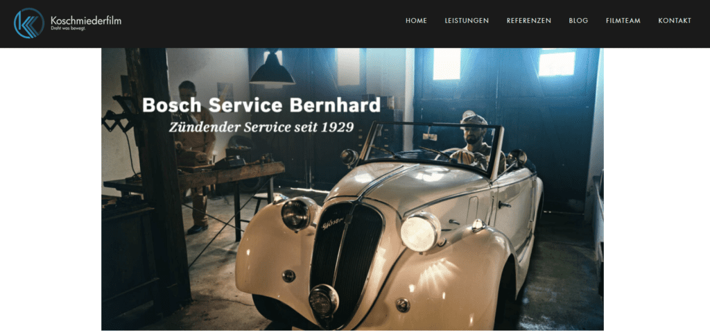 Screenshot der Website Koschmiederfilm